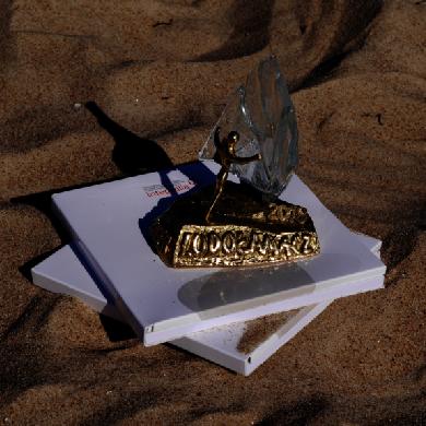 Zdjęcie przedstawia statuetkę sfotografowaną na plaży.