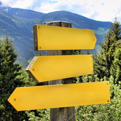 żółte drogowskazy na tle gór - jak symbol doradztwa zawodowego