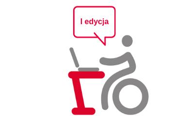 Logo projektu - osoba na wózku przy stanowisku komputerowym. W chmurce napis: I edycja. Na samej gorze grafiki logotypy unijne