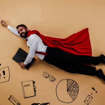 Grafika przedstawiająca mężczyznę z teczką w ręku, lecącego w górę niczym supermen.