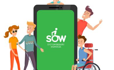 grafika promująca SOW (System Obsługi Wsparcia). Przedstawia telefon i osoby z niepełnosprawnościami